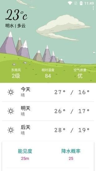 明日天气预报截图